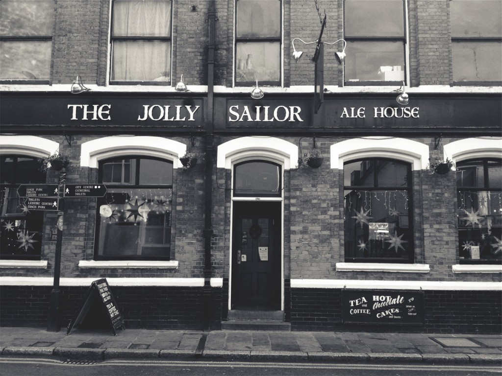 Black and white photo of traditional English pub
