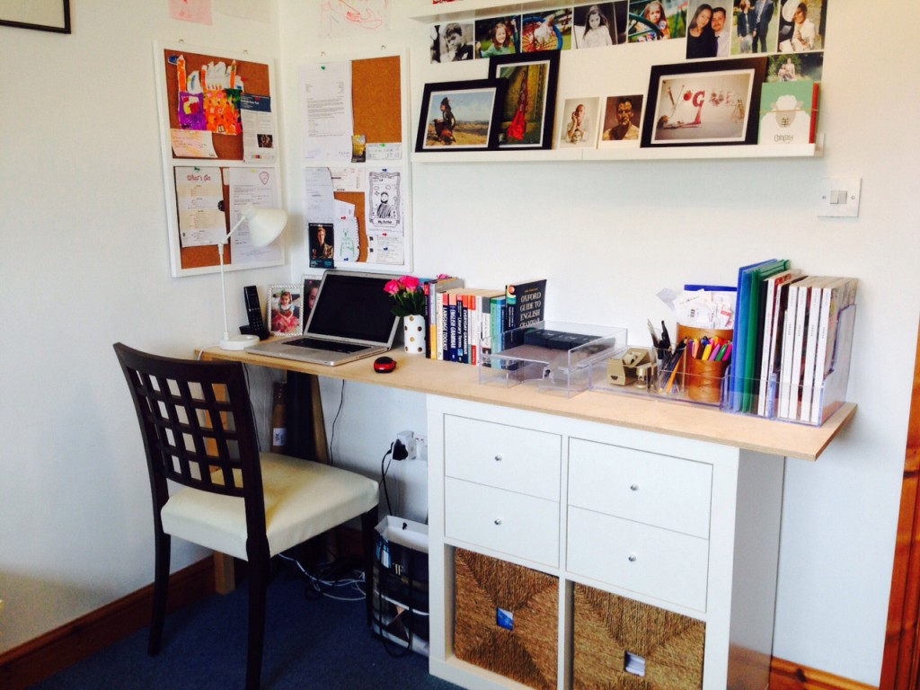 Photograph of my desk space to illustrate a post on rethinking my writing space