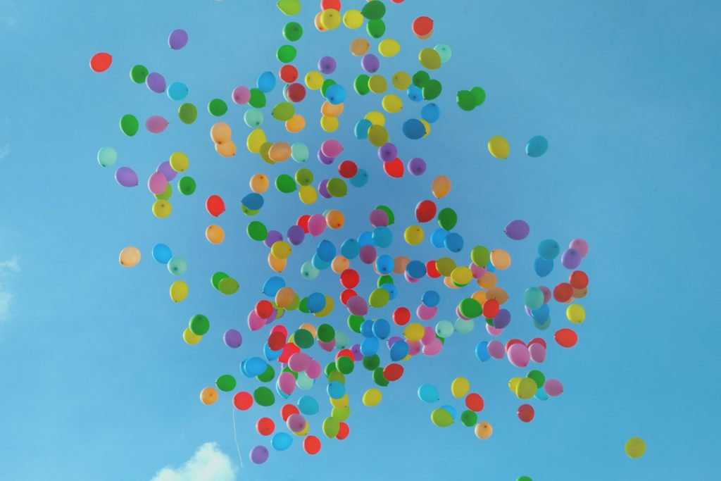"Photograph of colourful balloons in the sky to illustrate the blog post ""How I let go of my to-do list"""
