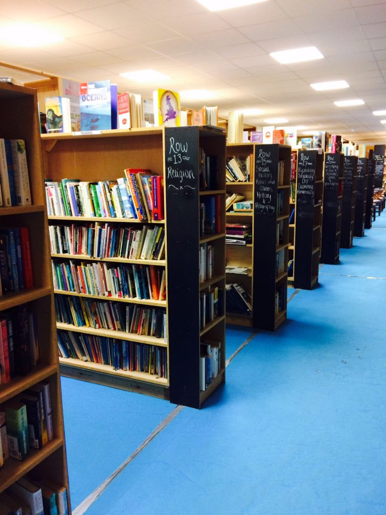 Aisles of books at Bookbarn International