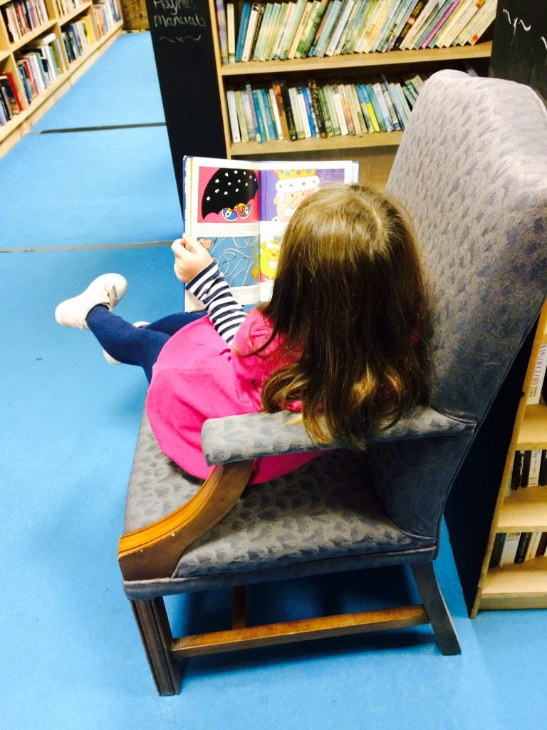 Reading chair at Bookbarn International
