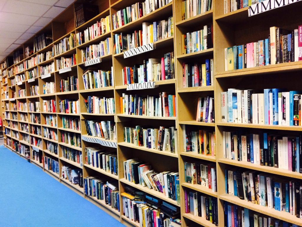 Shelves of books at Bookbarn International